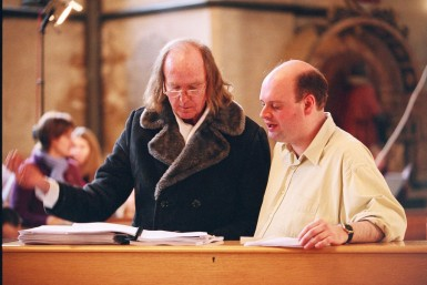 John Tavener with Stephen Layton in 2003